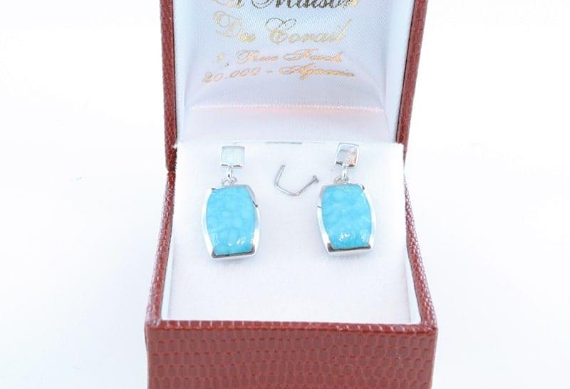 Boucles d'oreilles en turquoise et argent 017