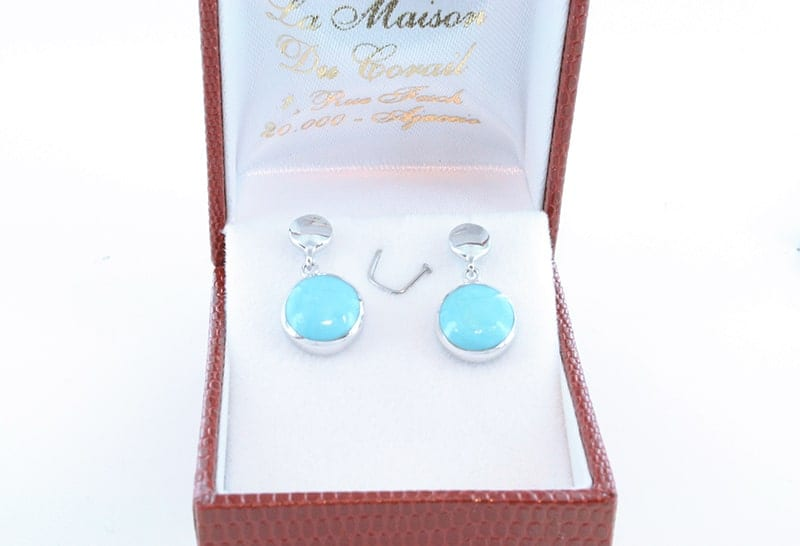 Boucles d'oreilles en turquoise et argent 018