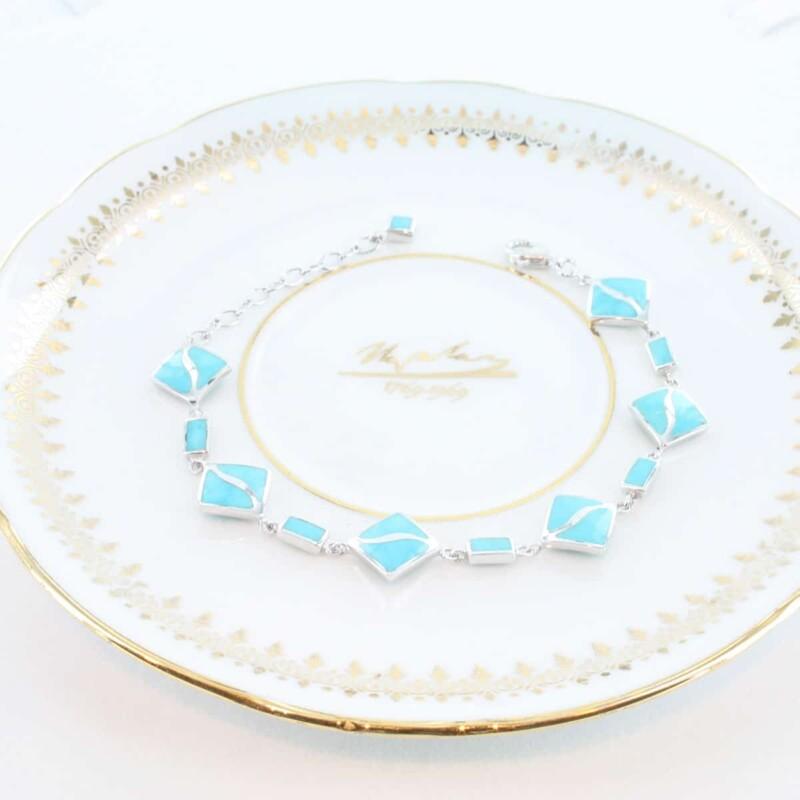 bracelet en turquoise véritable et argent 925 1000 BR-TU-AR-003