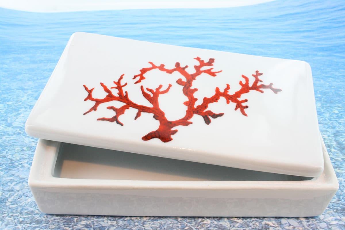 Coffret en porcelaine blanche décor corail PO-BL-CO-001