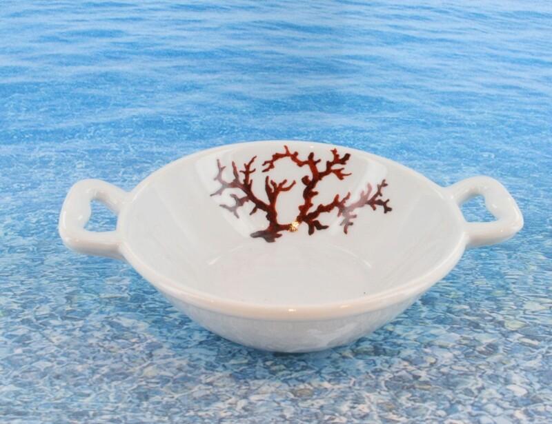 Bol en porcelaine blanche décor corail PO-BL-CO-003 corail PO-BL-CO-013