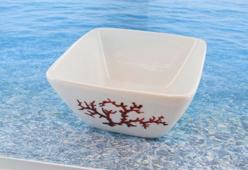 Bol en porcelaine blanche décor corail PO-BL-CO-003 corail PO-BL-CO-015