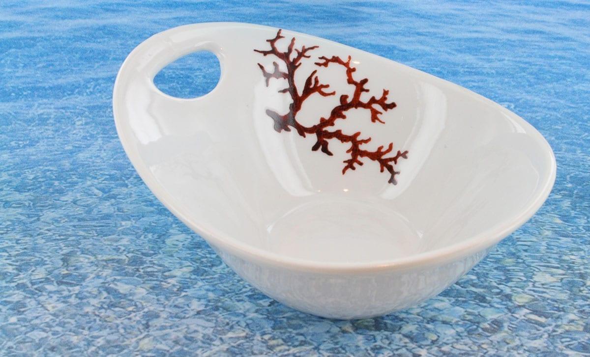 Bol en porcelaine blanche décor corail PO-BL-CO-003 corail PO-BL-CO-018