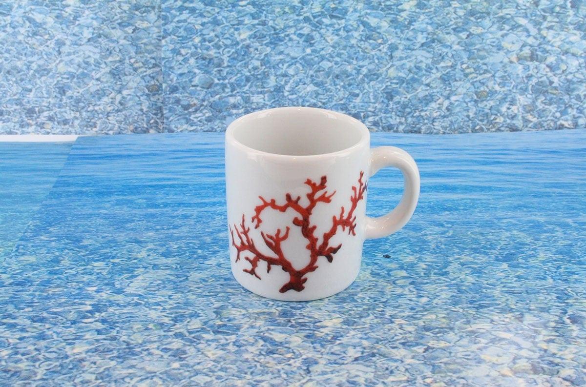 Tasse en porcelaine blanche décor corail PO-BL-CO-003 corail PO-BL-CO-029