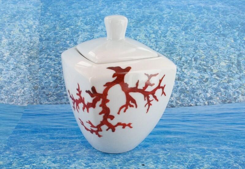 Sucrier en porcelaine blanche décor corail PO-BL-CO-003 corail PO-BL-CO-036