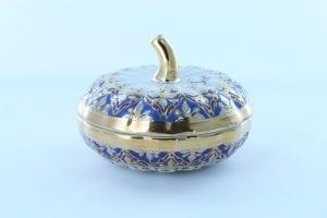 boite à poudre en porcelaine et décor corail PO-BLE-CO-003