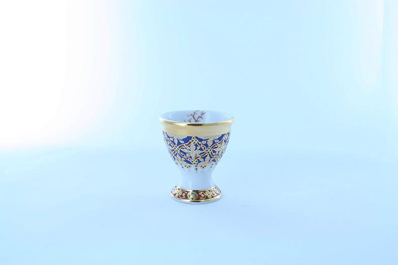 coquetier en porcelaine et décor corail PO-BLE-CO-004