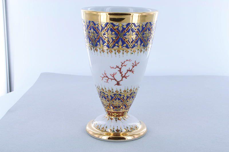 mazagran en porcelaine bleue et décor corail PO-BLE-CO-007