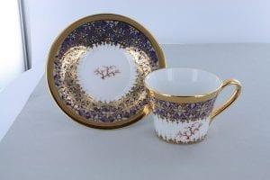 petite tasse a cafe en porcelaine bleue et décor corail PO-BLE-CO-009