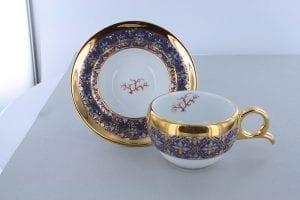 petite tasse a cafe en porcelaine bleue et décor corail PO-BLE-CO-010