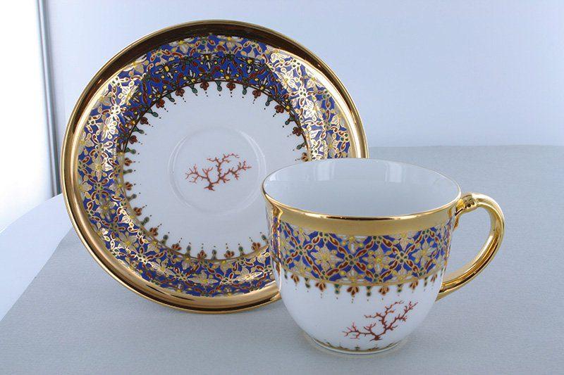 petite tasse a cafe en porcelaine bleue et décor corail PO-BLE-CO-011