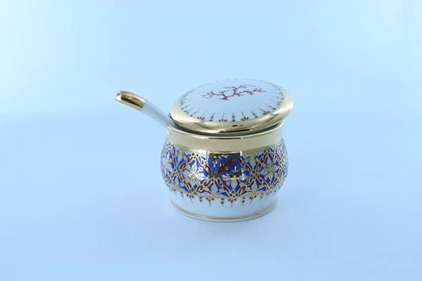 pot à moutarde en porcelaine bleue et décor corail PO-BLE-CO-017