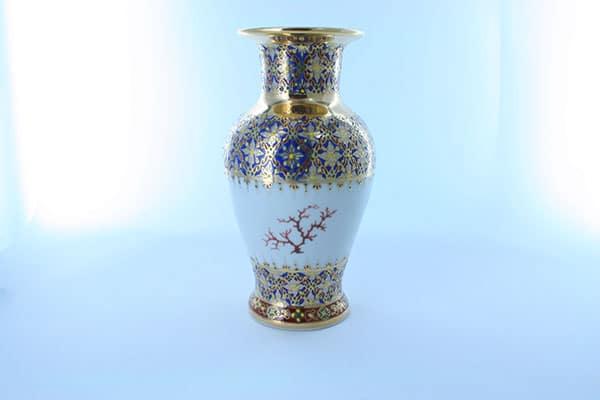 vase en porcelaine bleue et décor corail PO-BLE-CO-018