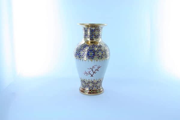 vase en porcelaine bleue et décor corail PO-BLE-CO-019