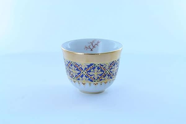verre à eau de vie en porcelaine bleue et décor corail PO-BLE-CO-014
