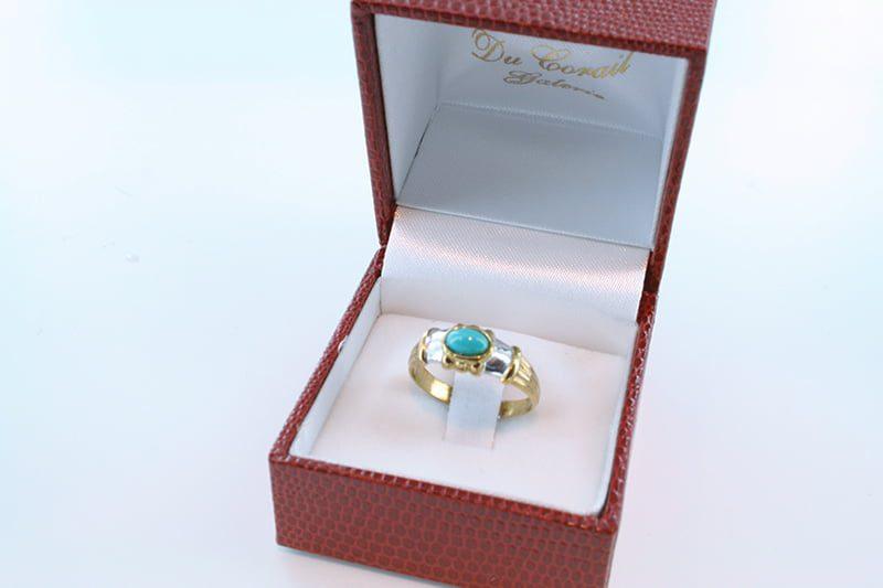 Bague en turquoise véritable et plaqué or 008