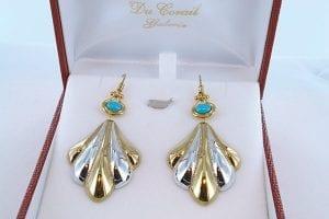 Boucles d'Oreilles en Turquoise Véritable et Plaque or 001