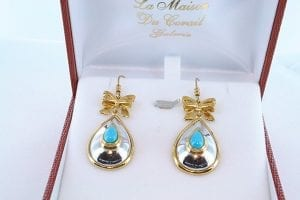 Boucles d'Oreilles en Turquoise Véritable et Plaque or 004