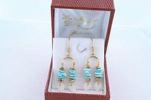 Boucles d'Oreilles en Turquoise Véritable et Plaque or 008