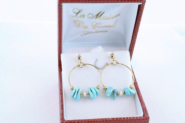 Boucles d'Oreilles en Turquoise Véritable et Plaque or 010