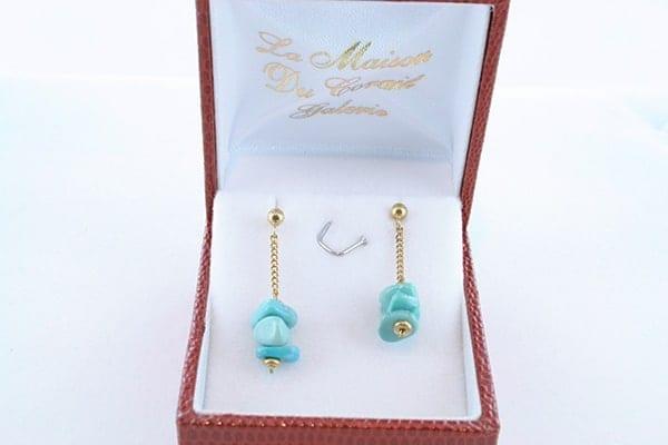 Boucles d'Oreilles en Turquoise Véritable et Plaque or 011