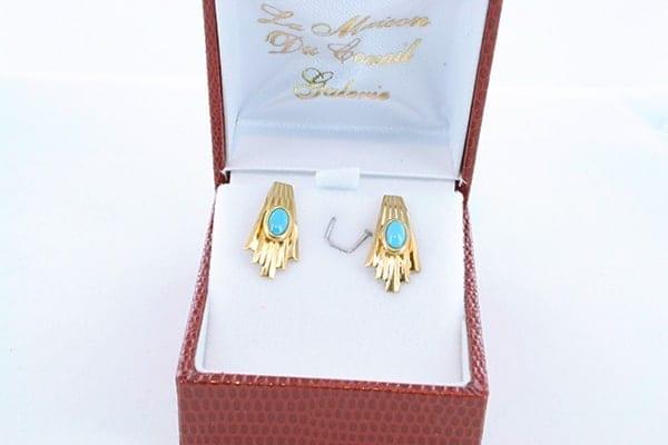 Boucles d'Oreilles en Turquoise Véritable et Plaque or 012