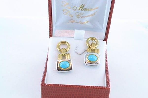 Boucles d'Oreilles en Turquoise Véritable et Plaqué Or <br> BO-TU-PL-OR-013