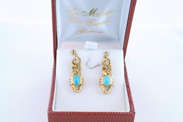 Boucles d'Oreilles en Turquoise Véritable et Plaque or 014