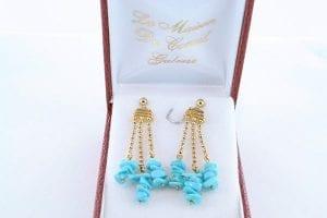 Boucles d'Oreilles en Turquoise Véritable et Plaque or 017
