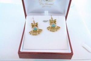 Boucles d'Oreilles en Turquoise Véritable et Plaque or 025
