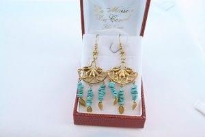 Boucles d'Oreilles en Turquoise Véritable et Plaque or 027