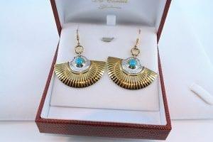 Boucles d'Oreilles en Turquoise Véritable et Plaque or 028