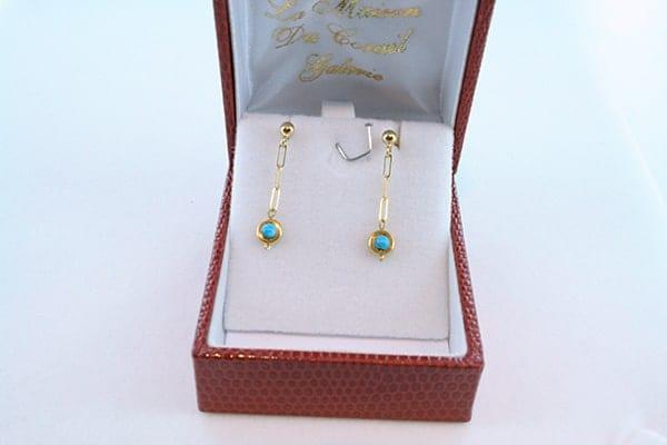 Boucles d'Oreilles en Turquoise Véritable et Plaque or 031
