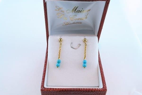 Boucles d'Oreilles en Turquoise Véritable et Plaque or 033