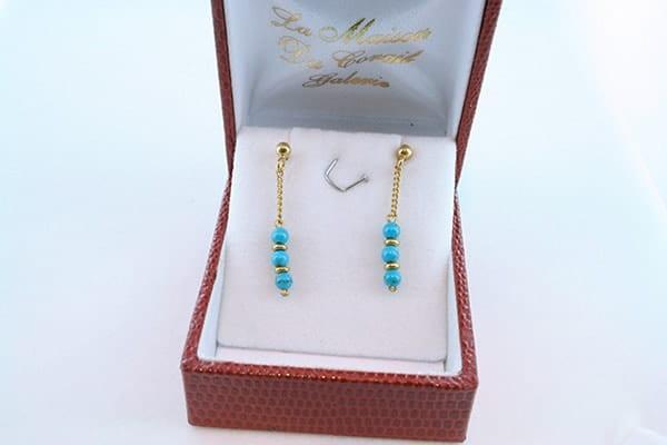 Boucles d'Oreilles en Turquoise Véritable et Plaque or 034