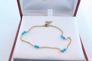 Bracelet en turquoise véritable et plaqué or 001