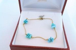 Bracelet en turquoise véritable et plaqué or 003