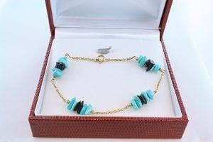 Bracelet en turquoise véritable et plaqué or 004