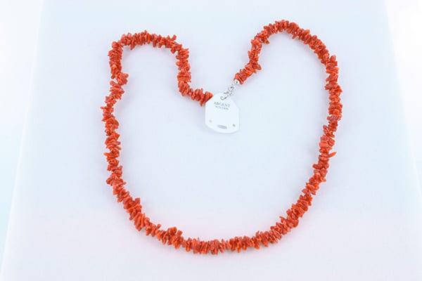 Collier en corail rouge et argent 002