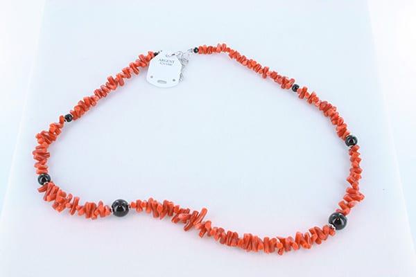 collier en corail rouge véritable de Méditerranée et argent 925 1000 004