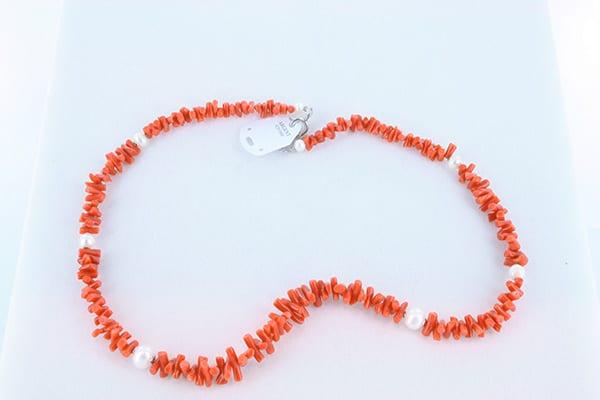 collier en corail rouge véritable de Méditerranée et argent 925 1000 0054