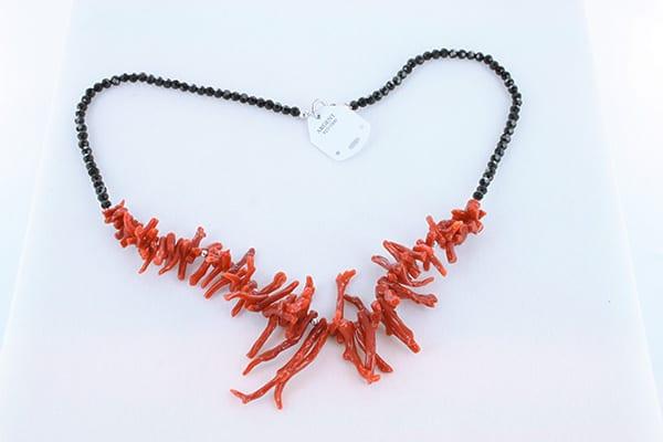 collier en corail rouge véritable de Méditerranée et argent 925 1000 007