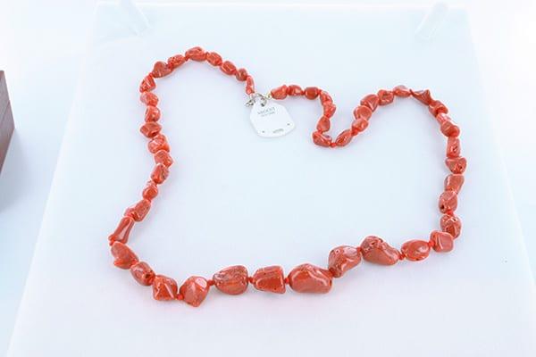 collier en corail rouge véritable de Méditerranée et argent 925 1000 008