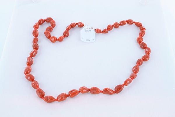collier en corail rouge véritable de Méditerranée et argent 925 1000 010