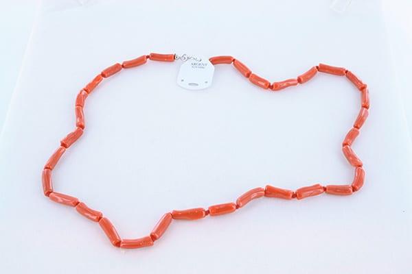 collier en corail rouge véritable de Méditerranée et argent 925 1000 011