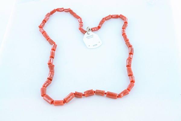 collier en corail rouge véritable de Méditerranée et argent 925 1000 012