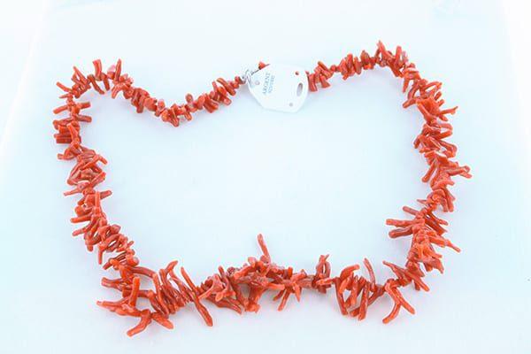 collier en corail rouge véritable de Méditerranée et argent 925 1000 014