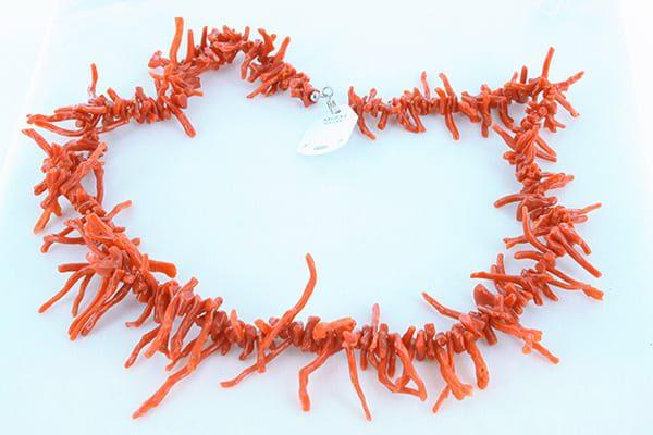 collier en corail rouge véritable de Méditerranée et argent 925 1000 015