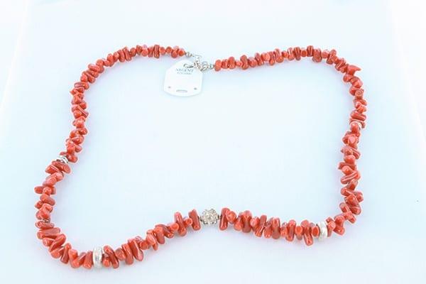 collier en corail rouge véritable de Méditerranée et argent 925 1000 017
