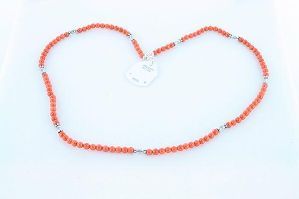 collier en corail rouge véritable de Méditerranée et argent 925 1000 018